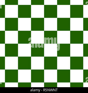 Chessboard or checker board seamless pattern in green and white. Checkered board for chess or checkers game. Strategy game conce - Stock Photo
