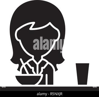 Lunch in the dining room black icon, vector sign on isolated background. Lunch in the dining room concept symbol, illustration  - Stock Photo