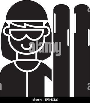 Skier black icon, vector sign on isolated background. Skier concept symbol, illustration  - Stock Photo