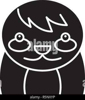 Funny badger black icon, vector sign on isolated background. Funny badger concept symbol, illustration  - Stock Photo