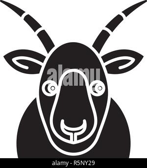 Funny goat black icon, vector sign on isolated background. Funny goat concept symbol, illustration  - Stock Photo