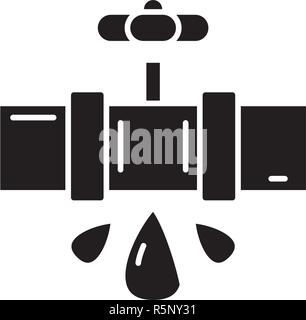 Water pipes black icon, vector sign on isolated background. Water pipes concept symbol, illustration  - Stock Photo
