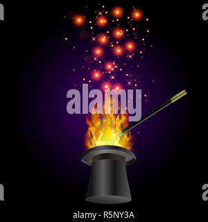 Realistic Magic Wand with Fire Flame - Stock Photo