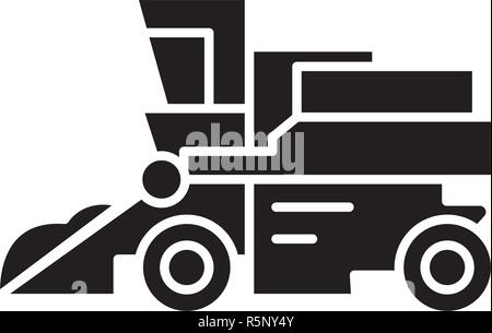 Combine harvester black icon, vector sign on isolated background. Combine harvester concept symbol, illustration  - Stock Photo