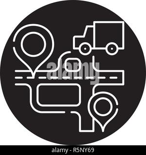 Route navigation black icon, vector sign on isolated background. Route navigation concept symbol, illustration  - Stock Photo
