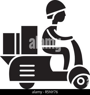 Courier on a motor scooter black icon, vector sign on isolated background. Courier on a motor scooter concept symbol, illustration  - Stock Photo