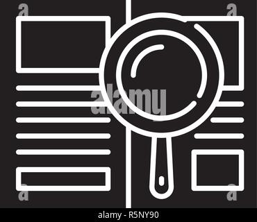 Analytical work black icon, vector sign on isolated background. Analytical work concept symbol, illustration  - Stock Photo