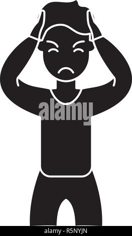 Anxiety black icon, vector sign on isolated background. Anxiety concept symbol, illustration  - Stock Photo