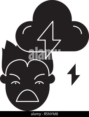 Violence black icon, vector sign on isolated background. Violence concept symbol, illustration  - Stock Photo