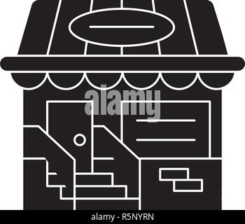 Small shop black icon, vector sign on isolated background. Small shop concept symbol, illustration  - Stock Photo