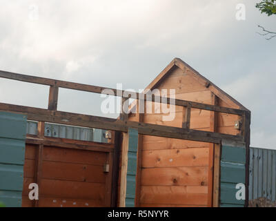 shed up close during construction garden outside - Stock Photo