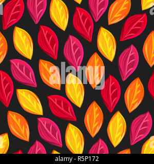 Floral seamless pattern with fallen leaves. Autumn. Leaf fall. Colorful artistic background - Stock Photo