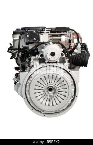 heavy truck engine isolated on white - Stock Photo