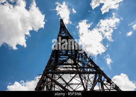 Historic radiostation tower in Gliwice, Poland (the highest wooden building on the world - 111m). The place of Nazi provocation on August 31, 1939. - Stock Photo