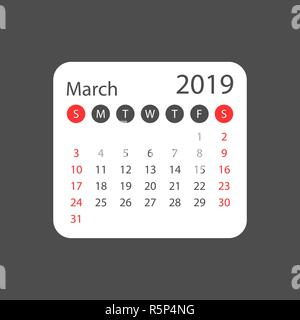 Calendar march 2019 year in simple style. Calendar planner design template. Agenda march monthly reminder. Business vector illustration. - Stock Photo