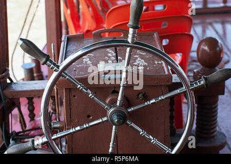 boat control steering wheel - Stock Photo