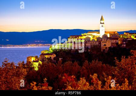 Town of Vrbnik on Krk island sunrise view - Stock Photo
