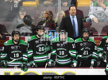 December 1, 2018 Noth Dakota head coach Brad Berry and his players look on during a NCAA men's ice hockey game between the University of North Dakota Fighting Hawks and the Minnesota Duluth Bulldogs at Amsoil Arena in Duluth, MN. North Dakota won 2-1. Photo by Russell Hons/CSM - Stock Photo