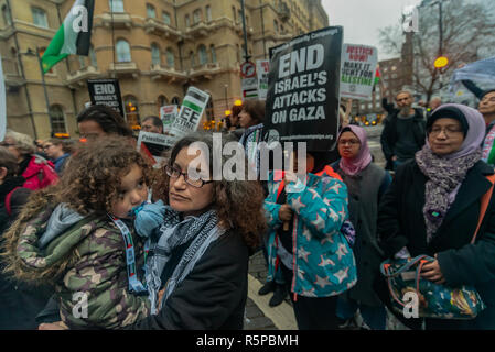 December 1, 2018 - Sorry Medyan,  wrote it and meant to add it.....London, UK. 1st December 2018. Protesters called on the BBC to withdraw from the 2019 Eurovision Song Contest hosted by Israel, to avoid being complicit in Israel's ongoing violations of Palestinian human rights. They say the contest 'artwashes' Israel's human rights record, including the killing of at least 205 Palestinians by Israeli forces in the besieged Gaza Strip since protests began at the end of March, and the passing of the Jewish nation state law which formalises an apartheid system in Israeli law. The protest was opp - Stock Photo