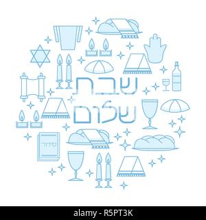 Shabbat Shalom card with Star of David, candles, kiddush cup and challah. Line art style. Hebrew text 'Shabbat Shalom'. Vector illustration. Isolated on white. - Stock Photo