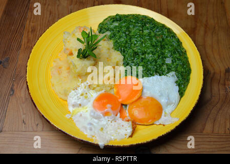 green spinach with mashed potatoes and fried egg - Stock Photo