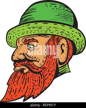 Etching style illustration of a hipster gentleman with bushy beard and mustache wearing a bowler hat viwedr from side done on scraperboard scratchboar - Stock Photo