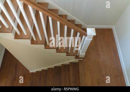 white staircase interior classic design wood steps - Stock Photo