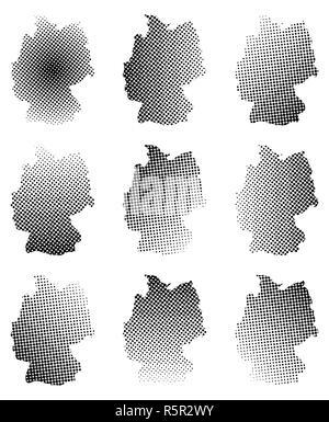 Germany map halftone vector symbol icon  design. illustration isolated on white background. - Stock Photo