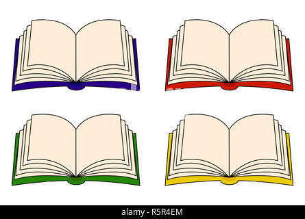 Open book vector clipart set, symbol, icon  design. Illustration isolated on white background. - Stock Photo