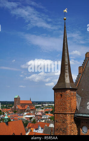 Panorama of Wismar with St. Nikolai and St. Georgen church - Stock Photo