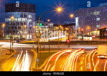 Evening city traffic in Essen, Germany, large intersection, roundabout, Berliner Platz, Berlin Square,  this area would also be affected by a diesel d - Stock Photo
