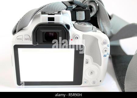 Camera digital slr single lens reflex white - Stock Photo