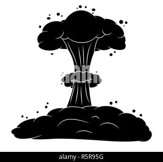 mushroom cloud, nuclear explosion silhouette,  vector symbol icon design. - Stock Photo