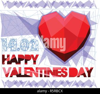 Happy Valentine s Day. Valentine and love by paper cut and polygonal heart on gray background. Overlapping heart shapes. Luxury and modern design. - Stock Photo