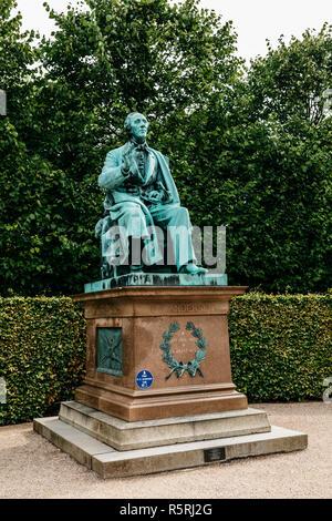 Statue of Hans Christian Andersen in Kings Garden, Copenhagen, Denmark - Stock Photo