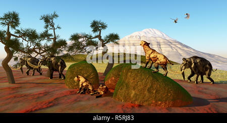 Saber Toothed Cat Family - Stock Photo