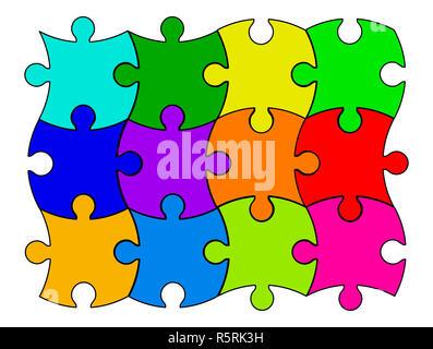 puzzle  set vector symbol icon design. - Stock Photo