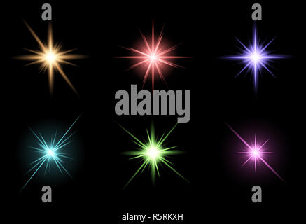 transparent star vector symbol icon design. Beautiful illustration of glowing light effect stars bursts with sparkles on transparent background for christmas card - Stock Photo