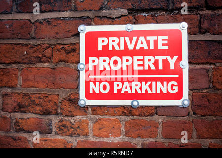 Sign private property no parking. - Stock Photo