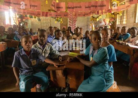 schoolchildren in primary school, Bigodi, western Uganda, Africa - Stock Photo