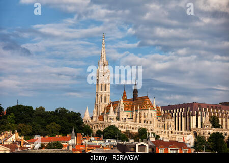 Matthias Church and Fisherman's Bastion in Budapest city, Hungary. - Stock Photo
