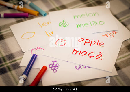 Portuguese  Learning New Language with Fruits Name Flash Cards - Stock Photo