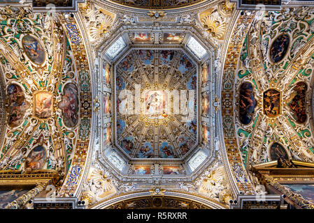 Bergamo, Italy - September 15, 2018: View of the ceiling of Basilica di Santa Maria Maggiore. This major basilica was founded in 1137. - Stock Photo