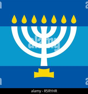 Menorah (ancient Hebrew seven-candleholder), sacred candelabrum with seven lamps, used in The Temple in Jerusalem. Traditional Religious Symbol. - Stock Photo