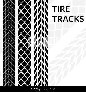 Tire tracks wheel car different black dark vector trail. - Stock Photo