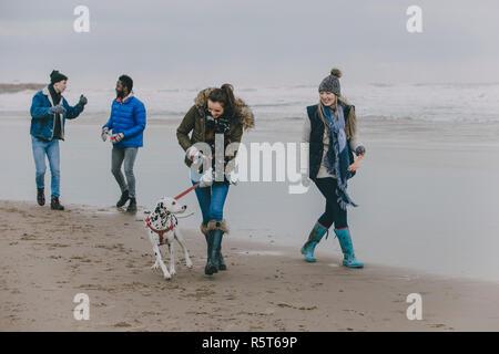 Friends Walking Dog On A Winter Beach - Stock Photo