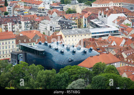 view of the kunsthaus graz in styria from the schlossberg - Stock Photo