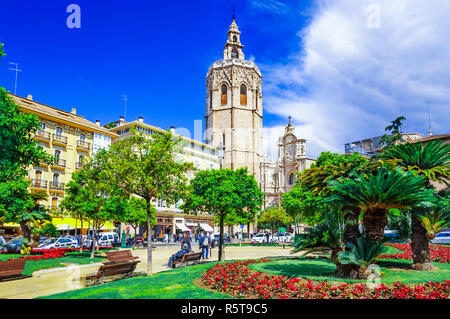 Micalet tower, Miguelete tower in Plaza de la Reina, Valencia, Spain - Stock Photo