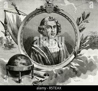 Christopher Columbus (1451-1506). Italian explorer, master navigator and admiral. Discoverer of America in 1492. Portrait. Engraving. La Civilizacion (The Civilization), volume III, 1882. - Stock Photo