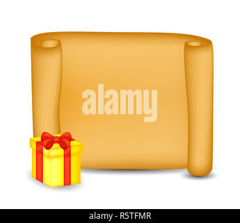 Christmas paper scroll card with present, gift, box. Vector illustration isolated on white background. - Stock Photo